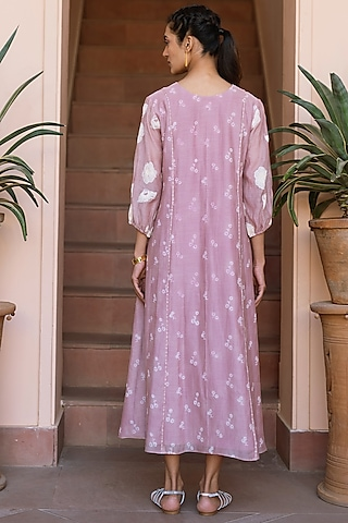 Orchid Printed & Embroidered Dress by Vaayu