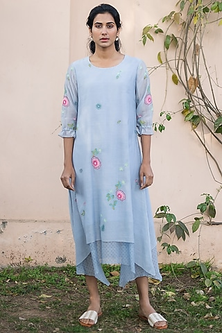 Azure Blue Embroidered Dress by Vaayu