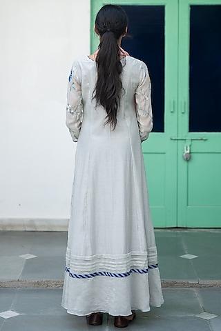 Ash Grey Floral Anarkali With Rose Dupatta by Vaayu