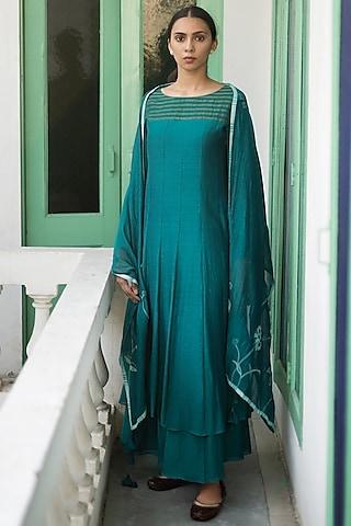 Jade Green Layered Anarkali With Dupatta by Vaayu