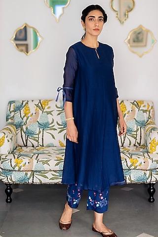 Sapphire Blue Applique Kurta Set by Vaayu