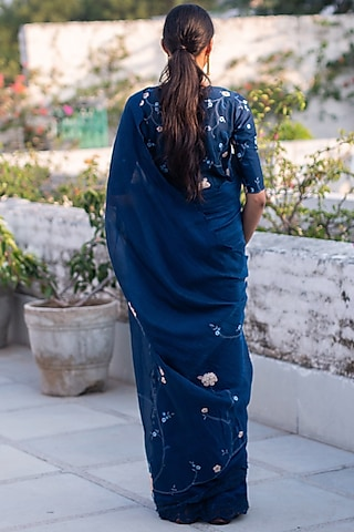 Sapphire Blue Lace Saree Set by Vaayu