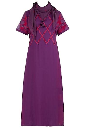 Purple Layered Kurta with Scarf by Vaayu
