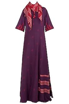 Purple Jamdani Dress with A Scarf by Vaayu