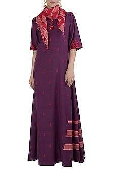 Purple Jamdani Dress with A Scarf by Vaayu