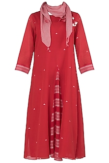 Cheery Red Jamdani Dress with Scarf by Vaayu