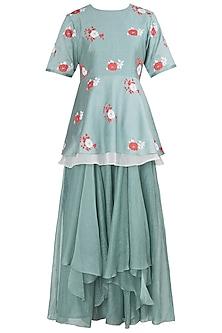 Mint Green Applique Peplum Top with Skirt by Vaayu