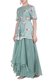 Mint Green Applique Peplum Top with Skirt by Vaayu
