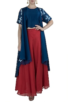 Navy Blue Embroidered Overlayer with Crop Top and Red Skirt by Vaayu