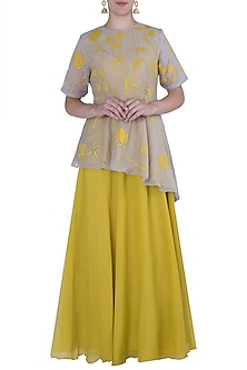 Grey Applique Peplum Top with Yellow Skirt by Vaayu