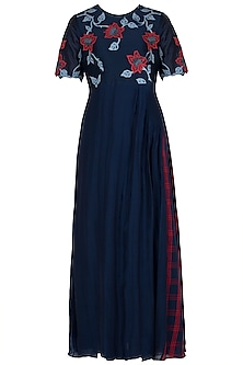 Navy Blue Applique Maxi Dress by Vaayu
