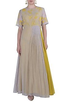 Oyster Grey Applique Maxi Dress by Vaayu