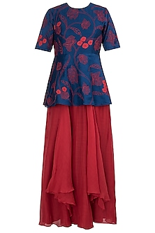 Navy Blue Applique Peplum Top with Red Skirt by Vaayu