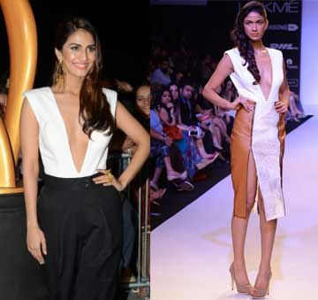 White body suit with tan leather zip skirt by Nikhil Thampi