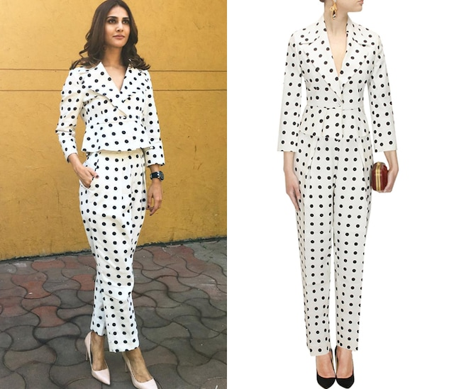 White and black polka dot printed suit set by Ashish N Soni