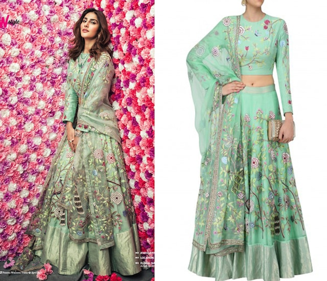 Mint Floral and Peacock Hand Embroidered Lehenga Set by Rahul Mishra