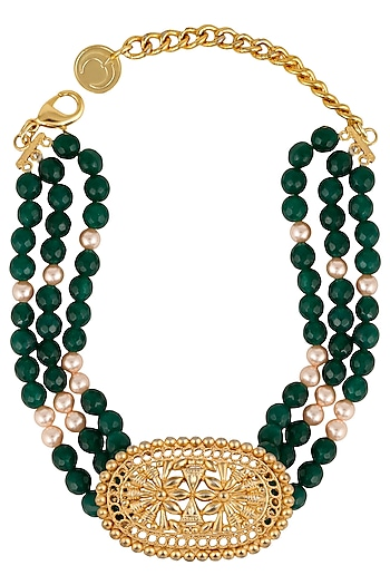 Gold Plated Green Semi Precious Stone Choker Necklace by Valliyan by Nitya Arora