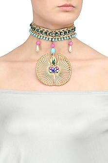 Gold Plated Semi Precious Stone Ambreen Choker Necklace by Valliyan by Nitya Arora