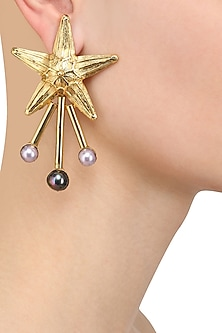 Gold Plated Semi Precious Stone Star Earrings by Valliyan by Nitya Arora