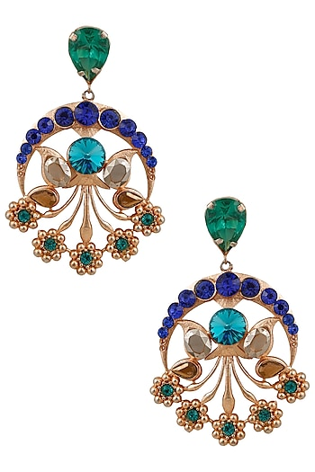 Gold Plated Blue Semi Precious Stone Mumtaaz Earrings by Valliyan by Nitya Arora