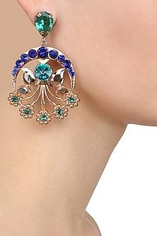 Gold Plated Blue Semi Precious Stone Mumtaaz Earrings by Valliyan by Nitya Arora