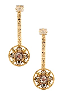 Gold Plated Wheel Drop Earrings by Valliyan by Nitya Arora