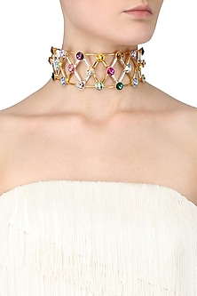 Gold Plated Multicolor Stone Choker Necklace by Valliyan by Nitya Arora