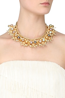 Gold Plated Multicolor Stone Short Necklace by Valliyan by Nitya Arora