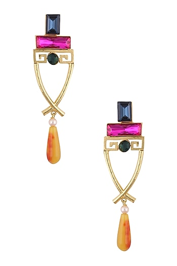 Gold Finish Blue, Pink, Yellow and Red, Stones Earrings by Valliyan by Nitya Arora