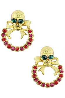 Gold Finish Skull Top and Red Semi Precious Stone Earrings by Valliyan by Nitya Arora