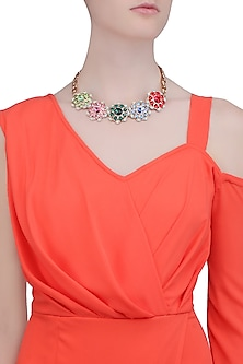 Rose Gold Finish Multicolor Stone Flower Necklace by Valliyan by Nitya Arora