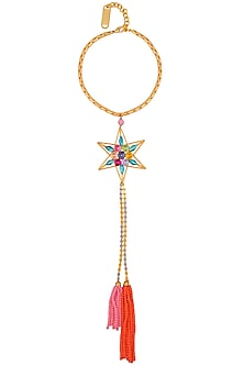 Gold Finish Multicolor Stone Star Pendant Choker Necklace by Valliyan by Nitya Arora