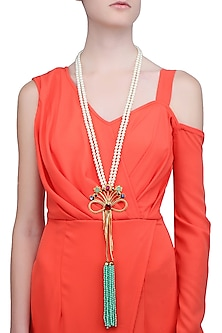 Gold Finish Bow Pendant Pearl String Necklace by Valliyan by Nitya Arora