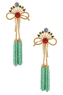 Gold Finish Multicolor Stone Bow Earrings by Valliyan by Nitya Arora