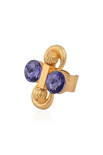 Gold Finish Double Blue Stone Middie Ring by Valliyan by Nitya Arora