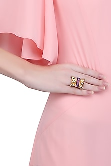 Gold Finish Purple Stone Middie Ring by Valliyan by Nitya Arora