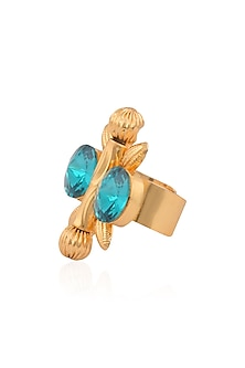 Gold Finish Double Blue Stone Flower Middie Ring by Valliyan by Nitya Arora