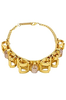 Gold Plated Geometric Design Semi Precious Stone Choker by Valliyan by Nitya Arora