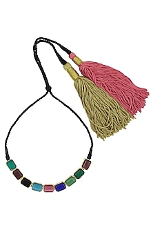 Blue, Pink, Green, Black And Brown Semi Precious Stone Black Thread Necklace by Valliyan by Nitya Arora
