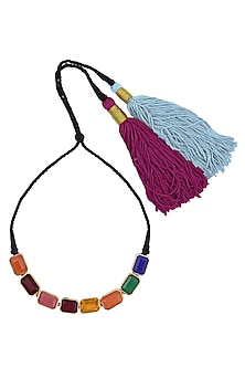 Blue, Pink, Green, Orange And Yellow Semi Precious Stone Black Thread Necklace by Valliyan by Nitya Arora