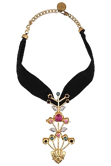Gold Finish Stone Studded Floral Pendant With Black Thread by Valliyan by Nitya Arora