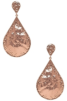 Rose Gold Metal Teardrop Earrings by Valliyan by Nitya Arora