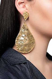 Gold Plated Metal Teardrop Earrings by Valliyan by Nitya Arora