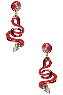 Squiggle Earrings with Gold Plating and Swarovski Crystals by Valliyan by Nitya Arora