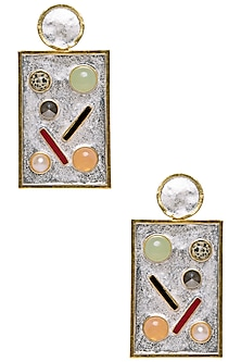 Gold Plated Perfume Bottle Earrings with Semi Precious Stones by Valliyan by Nitya Arora