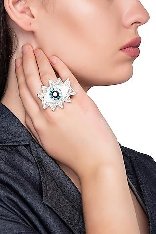Silver Plated Evil Eye Ring with Swarovski Crystals by Valliyan by Nitya Arora