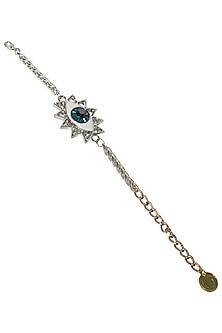 Silver Plated Evil Eye Bracelet with Swarvoski Crystals by Valliyan by Nitya Arora