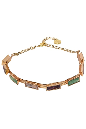 Rose Gold Plated Candy Choker with Semi Precious Stones by Valliyan by Nitya Arora
