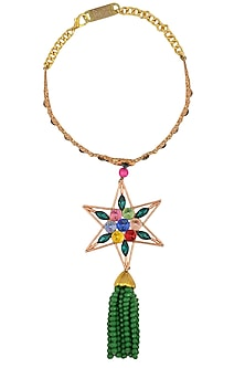 Gold Finish Semi Precious Stone Star Pendant Necklace by Valliyan by Nitya Arora
