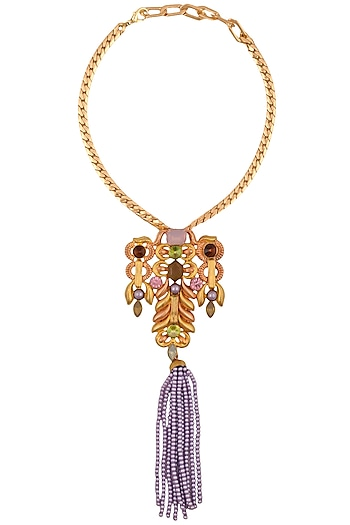 Gold Finish Semi Precious Stone Abstract Pendant Necklace by Valliyan by Nitya Arora